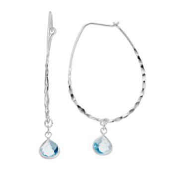 LC Lauren Conrad Blue Teadrop Stone Textured U Hoop Earrings