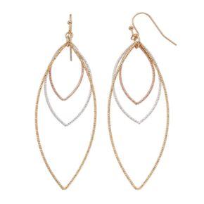 LC Lauren Conrad Tri Tone Open Marquise Drop Earrings