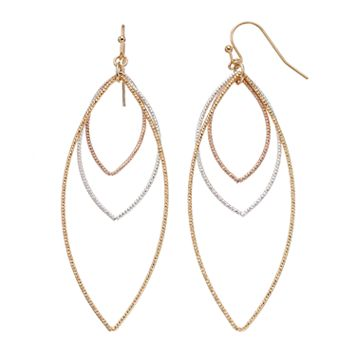 LC Lauren Conrad Tri Tone Open Marquise Drop Earrings