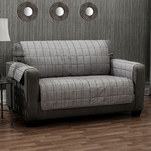 Ron Chereskin Reversible Diamond Stripe Loveseat Slipcover