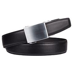 Men's Exact Fit Classic Feather-Edge Plaque-Buckle Belt