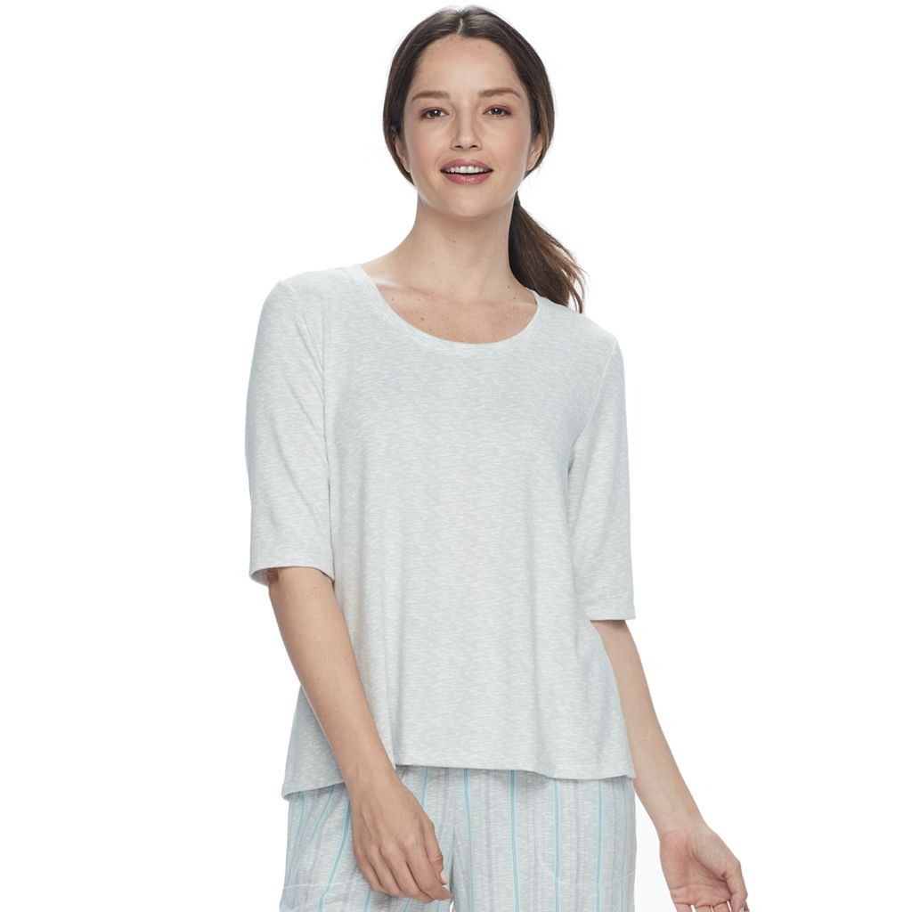 Women's Croft & Barrow® Pajamas: Whispery Clouds Elbow Sleeve Top