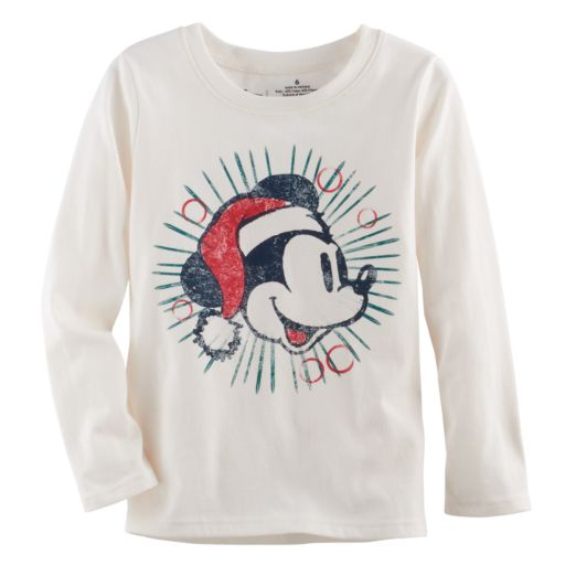 Disney's Mickey Mouse Toddler Boy Santa Hat Softest Tee by Jumping Beans®