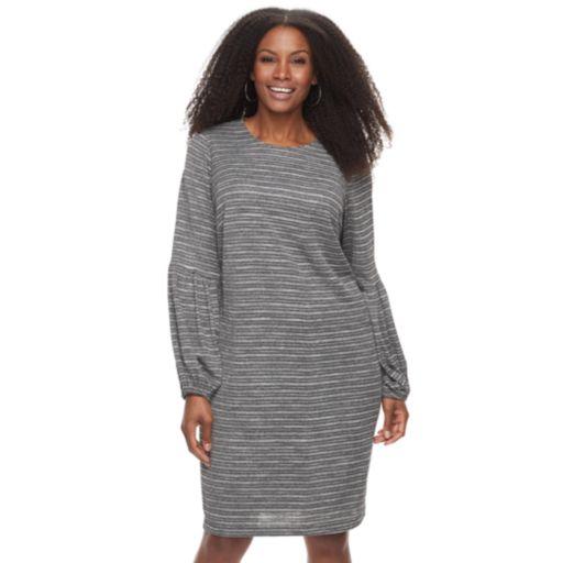 Plus Size Suite 7 Lurex Blouson Shift Dress