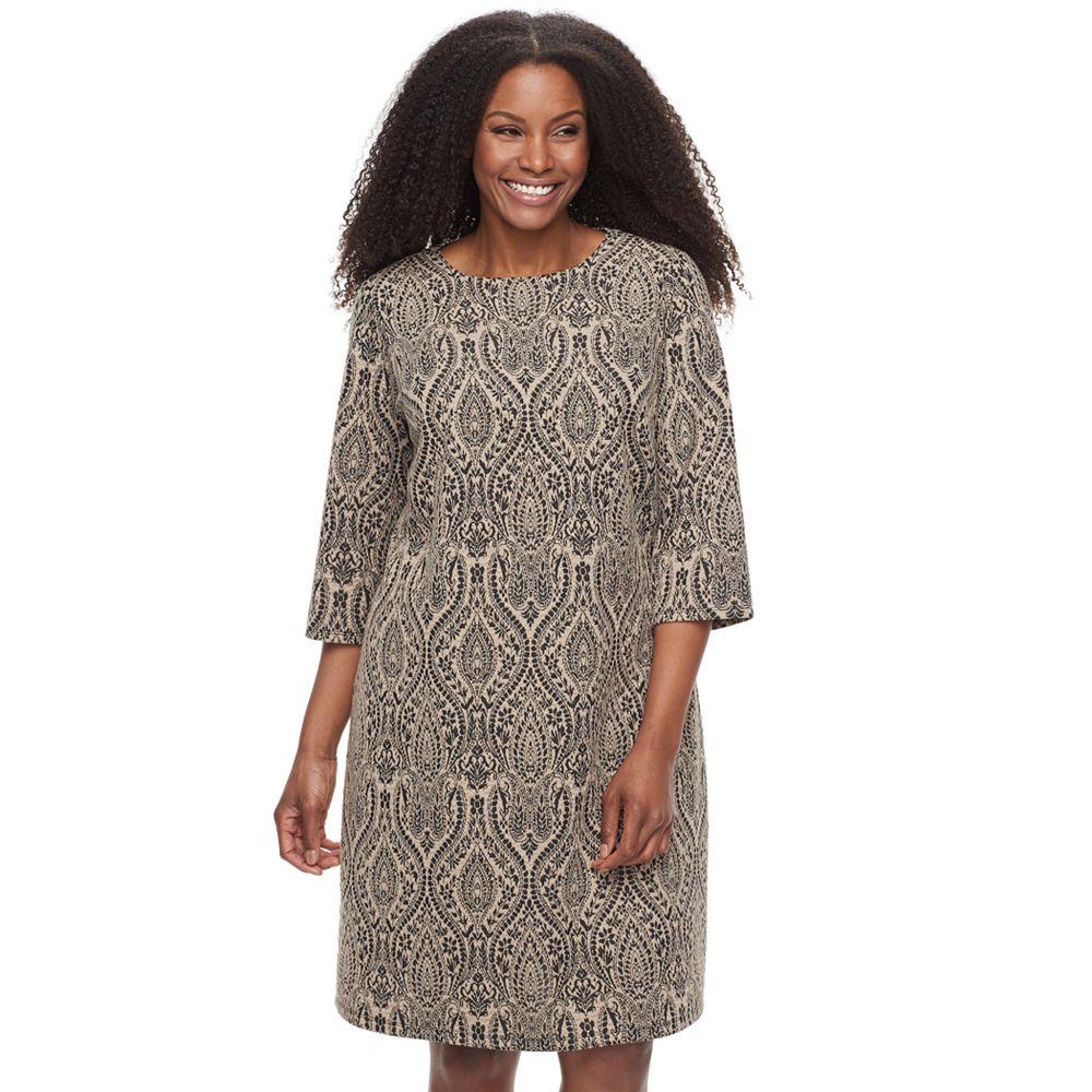 Plus Size Suite 7 Paisley Jacquard Shift Dress