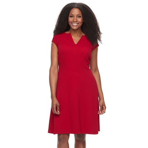 Plus Size Suite 7 Basketweave Fit & Flare Dress