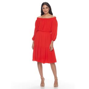Women's Hope & Harlow Off-the-Shoulder Crinkle Dress