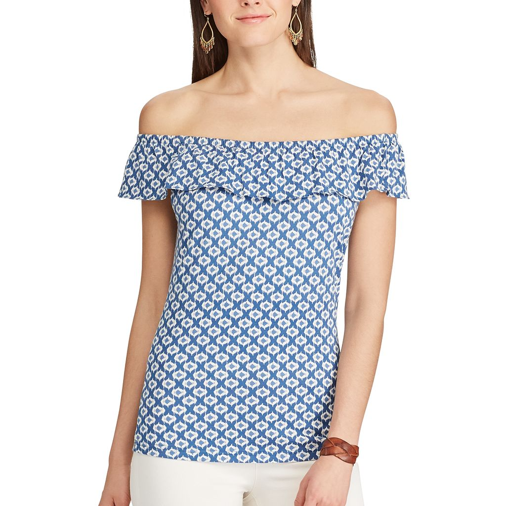 Women's Chaps Printed Off-the-Shoulder Top
