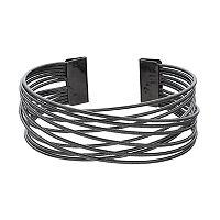 Textured Crisscross Multi Row Cuff Bracelet