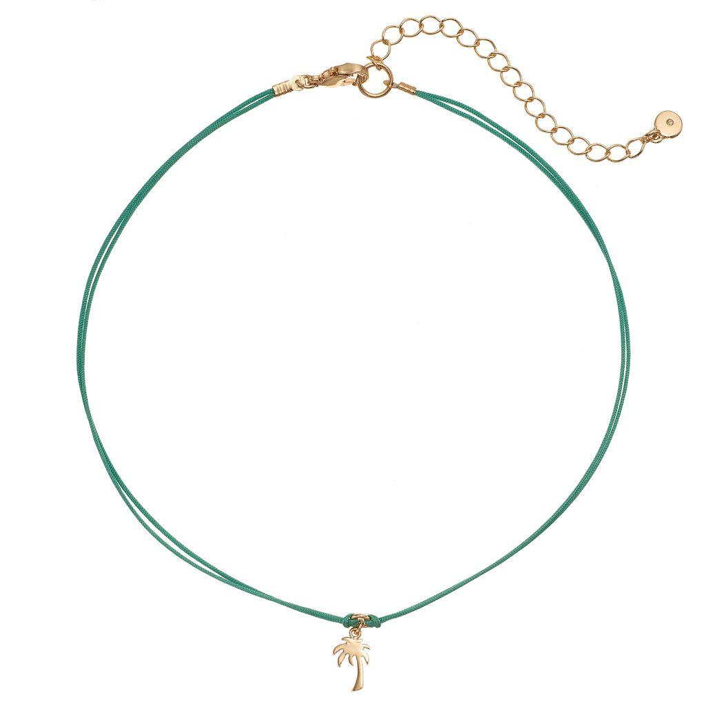 LC Lauren Conrad Palm Tree Charm Green Choker Necklace