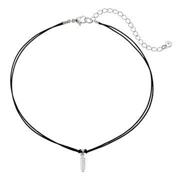 LC Lauren Conrad Feather Charm Black Choker Necklace