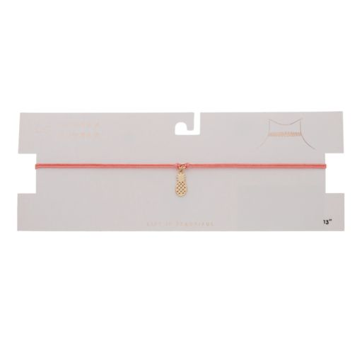 LC Lauren Conrad Pineapple Charm Pink Choker Necklace