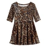 Toddler Girl Jumping Beans® Velour Cheetah Skater Dress