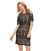 Women's Sharagano Cold-Shoulder Lace Dress
