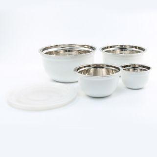 Cambridge 4-pc. Shiny White Bowl with Lid Set