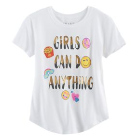 "Girls 7-16 ""Girls Can Do Anything"" Glitter Graphic Tee"
