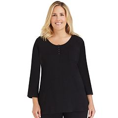 Plus Size Cuddl Duds Pajamas: Essentials Henley Pajama Top