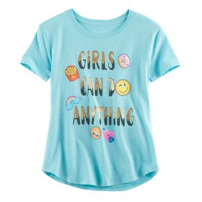"""Girls Plus Size """"Girls Can Do Anything"""" Glitter Graphic Tee"""