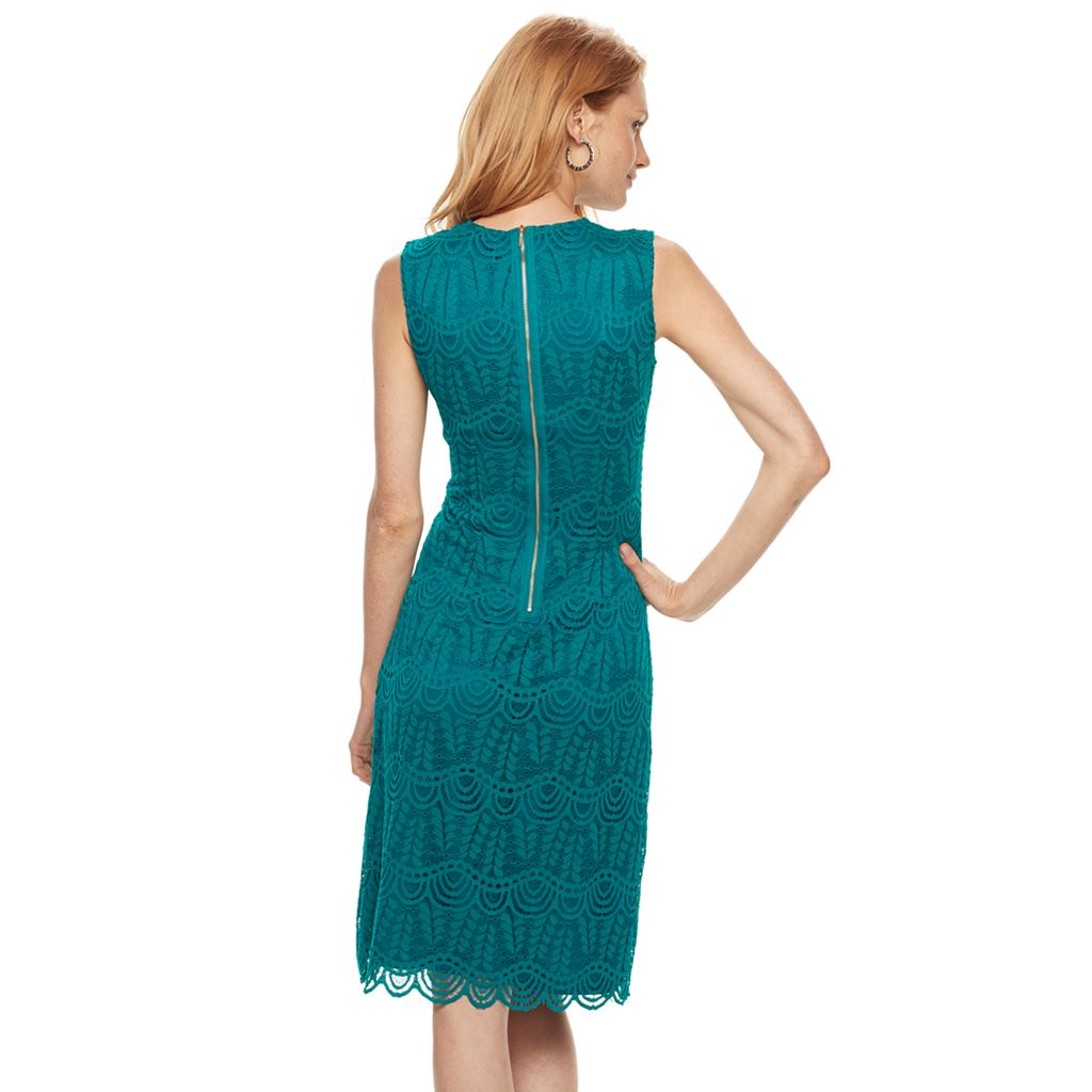 Women's Sharagano Lace Midi Sheath Dress