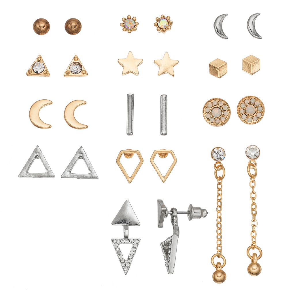 Mudd® Cube, Crescent, Star & Triangle Jacket Nickel Free Earring Set