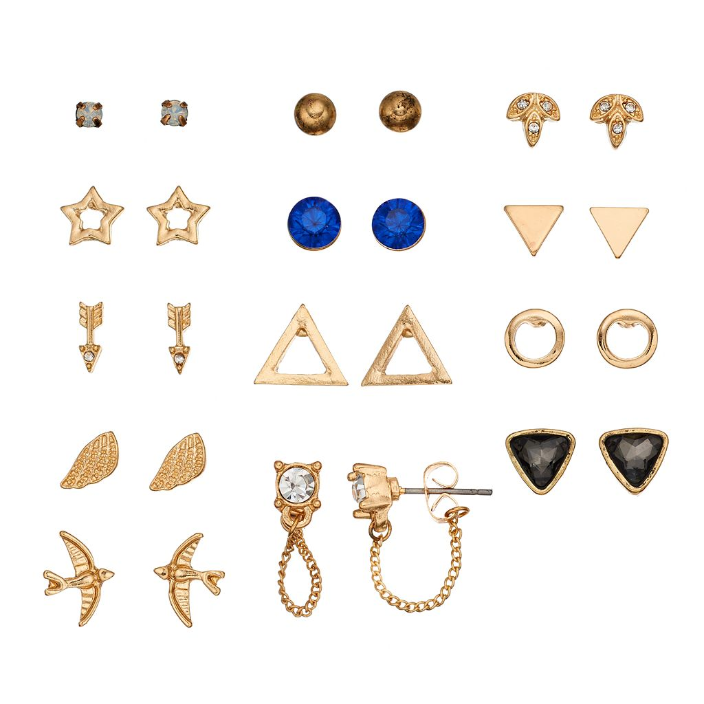 Mudd® Bird, Star, Arrow, Triangle & Front Back Nickel Free Earring Set