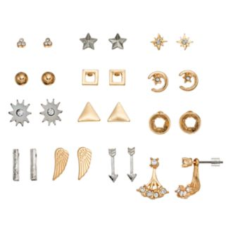 Mudd® Star, Crescent, Wing & Jacket Nickel Free Earring Set