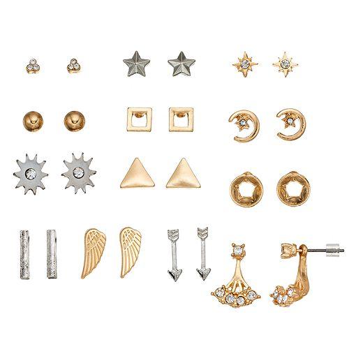 Mudd® Star, Crescent, Wing & Jacket Nickel Free Earring Set