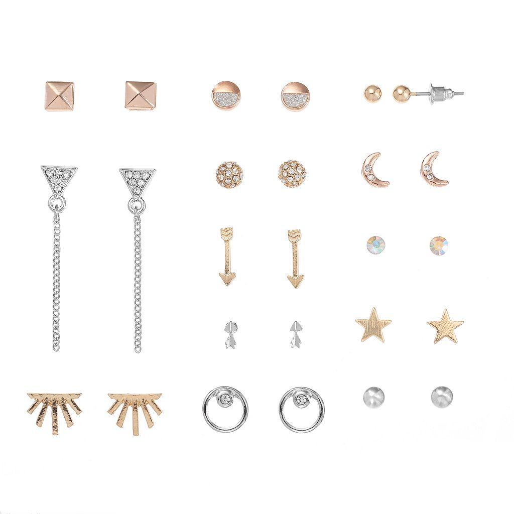 Mudd® Star, Arrow, Crescent & Triangle Nickel Free Earring Set