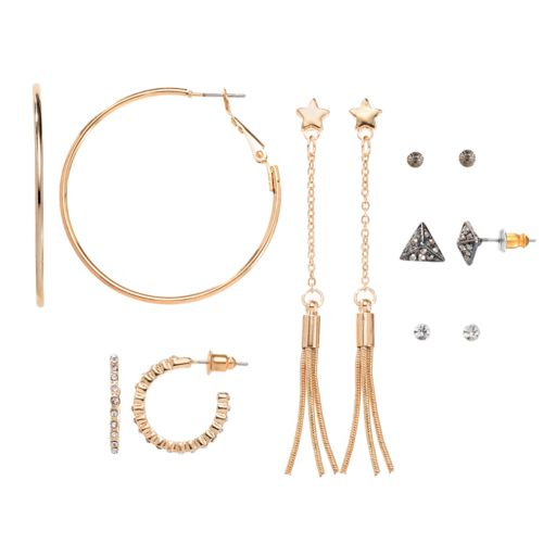 Mudd® Pyramid Stud, Star Tassel Drop & Hoop Nickel Free Earring Set