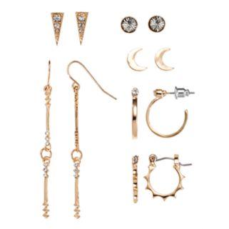 Mudd® Hoop, Bar Link, Crescent & Triangular Nickel Free Earring Set