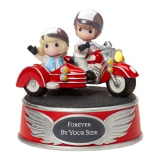 "Precious Moments ""Forever By Your Side"" Wind-Up Motorcycle Couple Figurine"