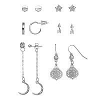 Mudd® Star, Arrow, Crescent & Semi Hoop Nickel Free Earring Set