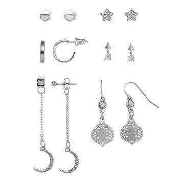 Mudd® Star, Arrow, Crescent & Semi Hoop Nickel Free Earring Set