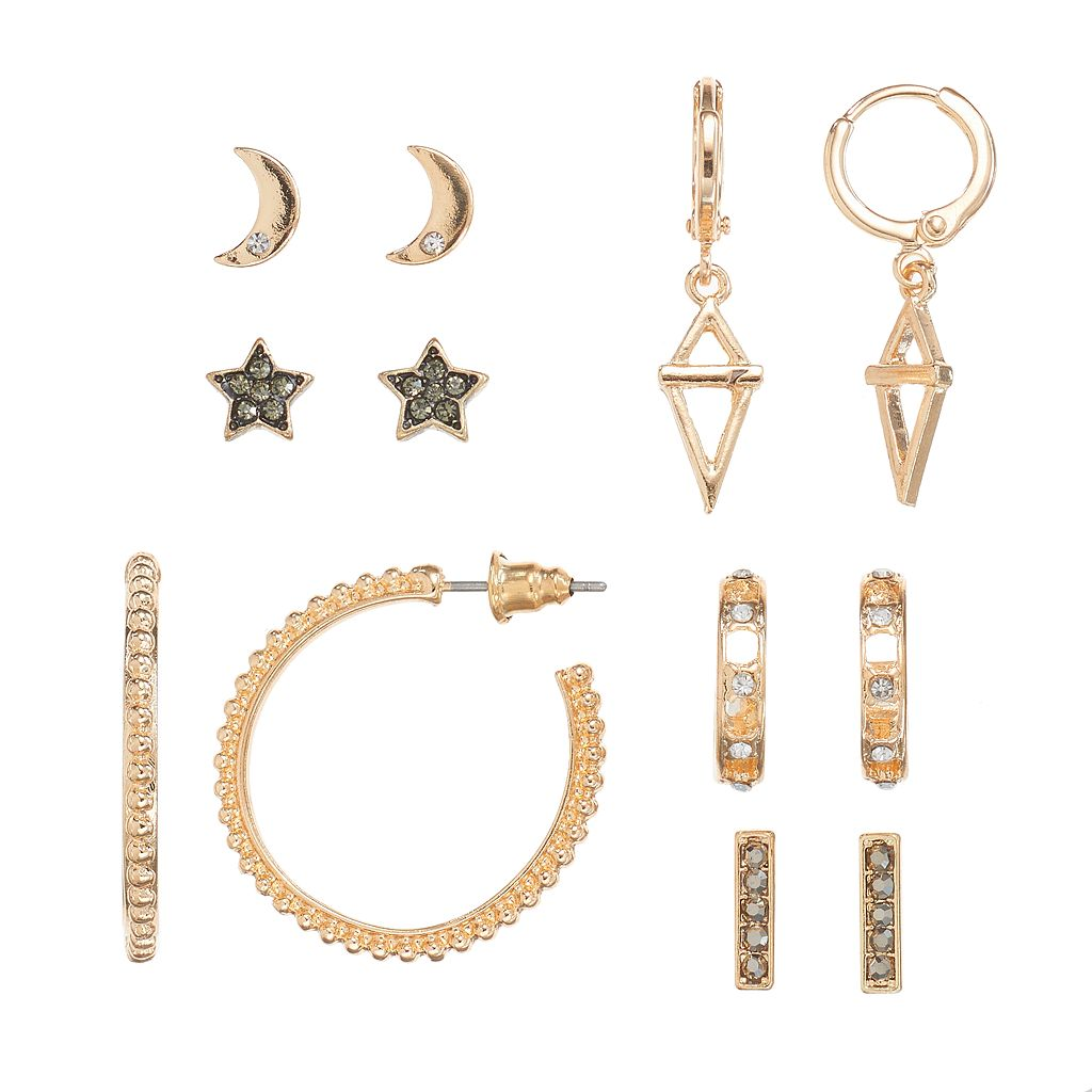 Mudd® Star, Crescent & Hoop Nickel Free Earring Set