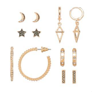 Mudd® Star, Crescent & Hoop Nickel Free Earring Set