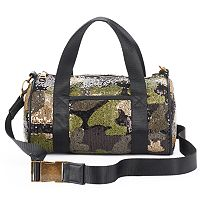 madden NYC Jackie Camo Sequin Mini Barrel Duffel Bag