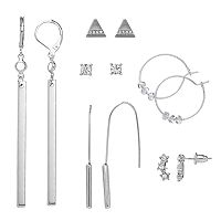 Mudd® Beaded Hoop, Triangular Stud, Star Climber & Bar Drop Nickel Free Earring Set