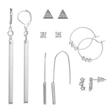 Mudd® Beaded Hoop, Triangular Stud, Star Climber & Bar Drop Nickel Free Earring Set