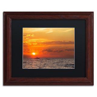 Trademark Fine Art Fishing Boat Sunset Framed Wall Art