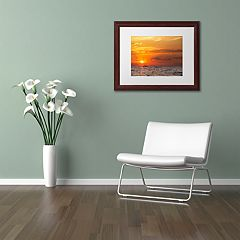 Trademark Fine Art Fishing Boat Sunset Framed Wall Art