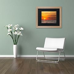 Trademark Fine Art Fishing Boat Sunset Distressed Framed Wall Art