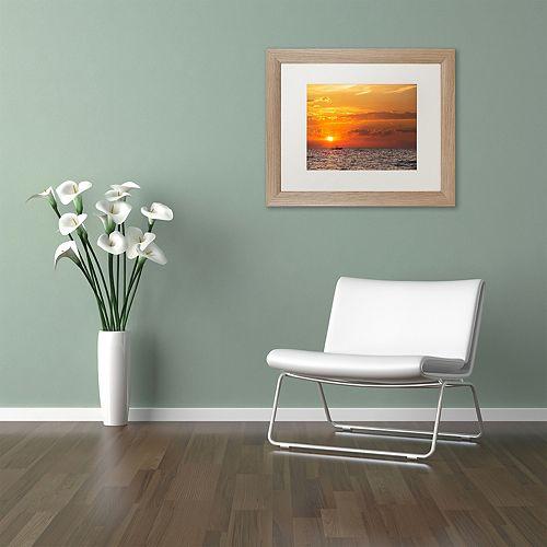 Trademark Fine Art Fishing Boat Sunset Distressed Framed Wall Art