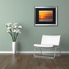 Trademark Fine Art Fishing Boat Sunset Silver Finish Framed Wall Art