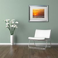 Trademark Fine Art Fishing Boat Sunset Silver Finish Framed Wall Art