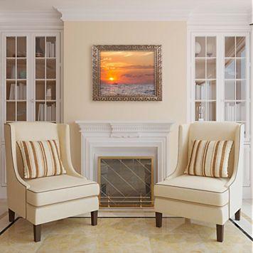 Trademark Fine Art Fishing Boat Sunset Ornate Framed Wall Art