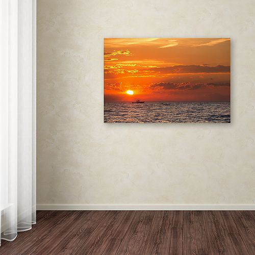 Trademark Fine Art Fishing Boat Sunset Canvas Wall Art