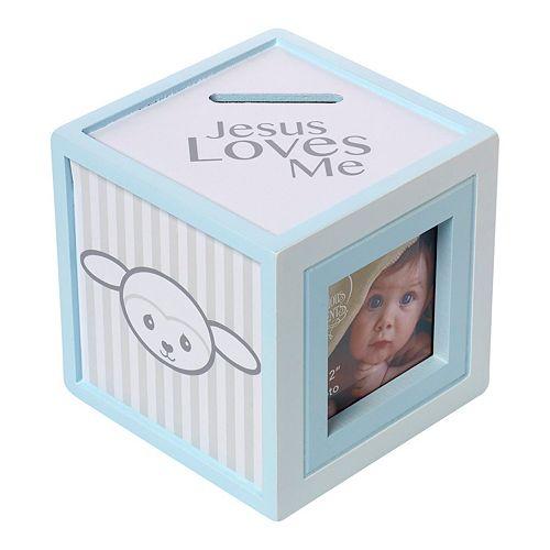 "Precious Moments ""Jesus Loves Me"" 2"" x 2"" Blue Photo Cube Bank"