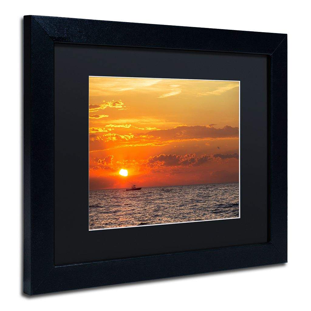 Trademark Fine Art Fishing Boat Sunset Black Framed Wall Art