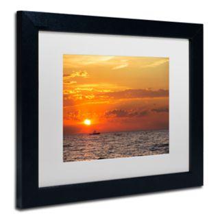 Trademark Fine Art Fishing Boat Sunset Black Framed Wall Art