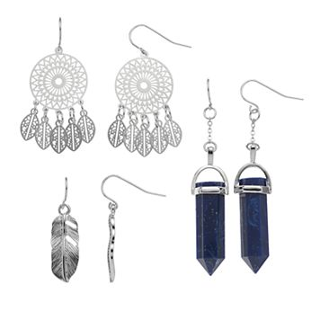 Mudd® Dream Catcher, Feather & Blue Faceted Stone Nickel Free Drop Earring Set